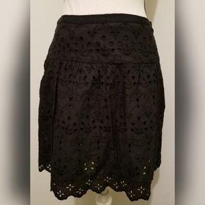 LOFT Ann Taylor Solid Black Lace Skirt Skater
